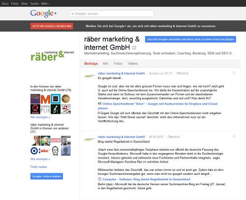 Beispiel: Google Plus Unternehmenseintrag