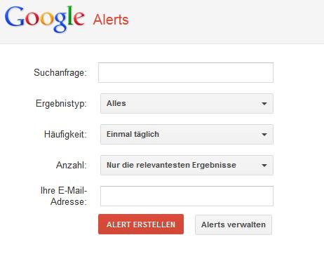 Mit einem Google Alert sich über Möglichkeiten der beruflichen Neuorientierung informieren