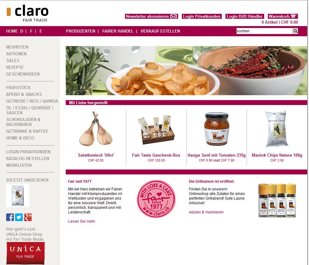 Claro - Fair Trade Onlineshop für Kaffee, Schokolade etc.