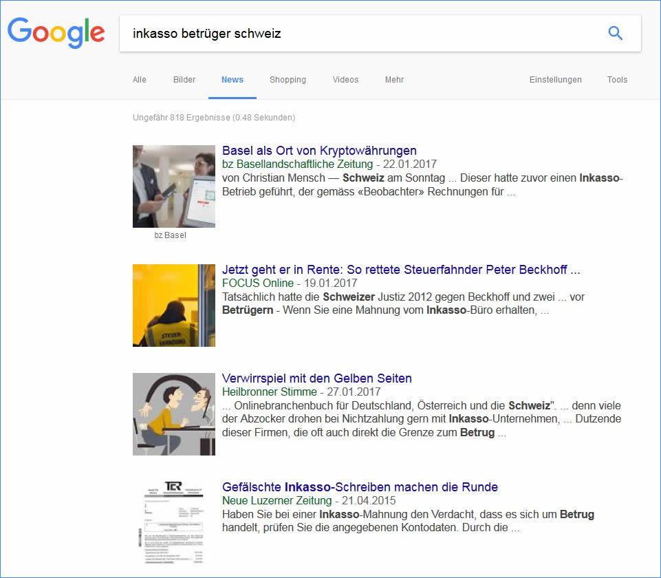 Inkasso-Betrüger - sich via Googel News updaten